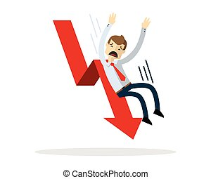 Vector of Businessman slide down a red arrow