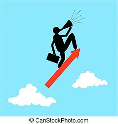 Vector of Businessman standing on a flying arrows. Business and upwards concept.