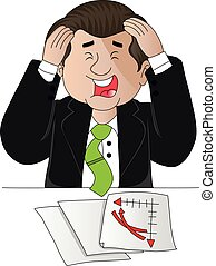 Vector of businessman troubled with paperwork.
