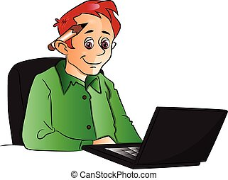 Vector of businessman using laptop.