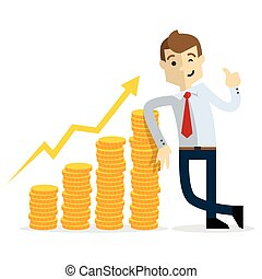 Vector of Businessman with gold coins chart