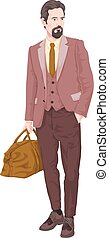 Vector of businessman with luggage.
