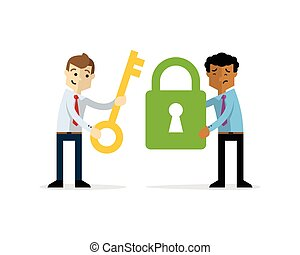 Vector of Businessmen with a padlock and a key as symbols of pro