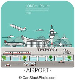 vector of busy airport with airplane take off , landing and parking include transportation around the airport. traveling by air concept