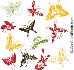 Butterflies ornaments set - Vector of Butterflies ornaments...