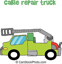 Vector of cable repair truck