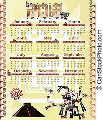 Calendar 2012 in mayan style