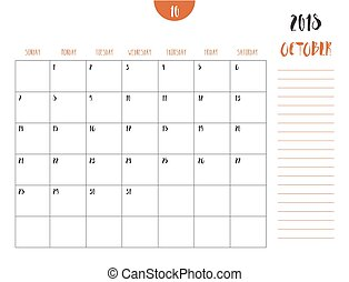 Vector of calendar 2018 ( october ) in simple clean table...
