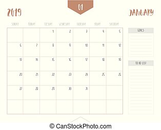 Vector of calendar 2019 ( January ) in simple clean table...
