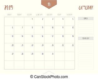 Vector of calendar 2019 ( October ) in simple clean table...