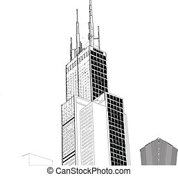Hand-illustrated black and white EPS vector of Willis Towers, formally known as Sears Tower