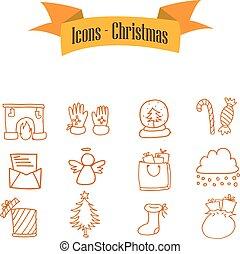 Vector of Christmas icons set