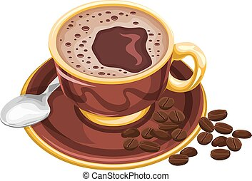 Vector of coffee cup with beans.