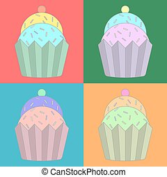 Vector of colorful cupcake
