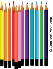 Vector of colorful pencil crayons on a white background.