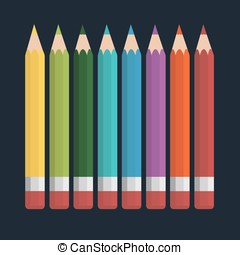Vector of coloured pencil set