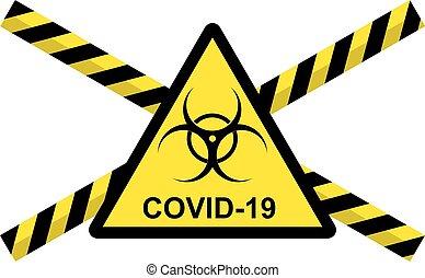 Vector illustration of concept of 2019-nCov novel Coronavirus biological hazard. Coronavirus danger from China. Pathogen respiratory coronavirus, COVID-19 danger, SARS pandemic risk alert.