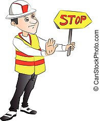 Vector of construction worker showing stop sign at site. -...