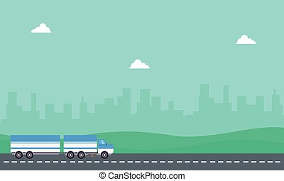 Vector of container truck on the road