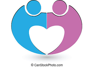 Vector of couple heart shape logo