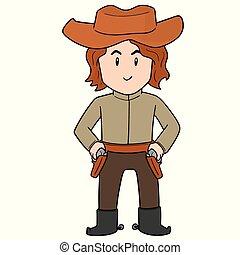 vector of cowboy