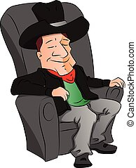 Vector of cowboy sleeping on armchair.