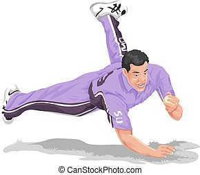 Vector of cricket fielder taking catch. - Vector...