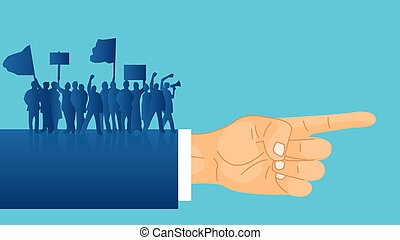 Vector of crowd of protesters people with banners standing on a politician hand indicating a direction