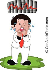 Vector of crying businessman with chart of stock market crash.