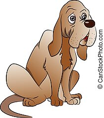 Vector of cute boxer dog sitting.
