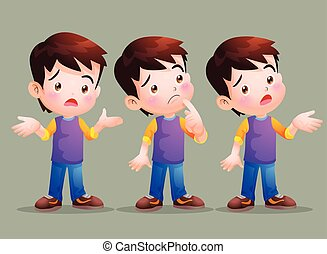 Cute boy have question - Vector of Cute boy have question in...