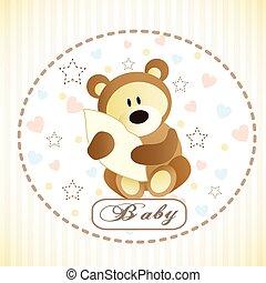 Vector of cute brown bear hiding by blanket.