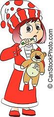 Vector of cute girl holding teddy bear and brushing her teeth.