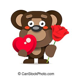 Vector Of Cute Little Teddy Bear Holding Red Heart.