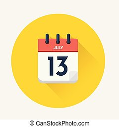 Vector of Day calendar with date July 13, 2018