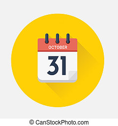 Vector of Day calendar with date October 31, 2018 - Vector...