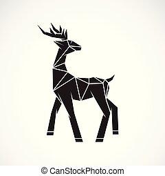 Vector of deer design on white background. Wild Animals. Deer logo or icon. Easy editable layered vector illustration.
