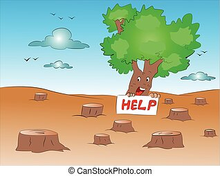 Vector of deforestation. - Vector illustration of loan tree...