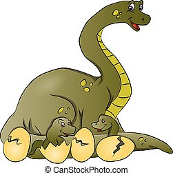 Vector of dinosaur mother with newborn in cracked eggshells.