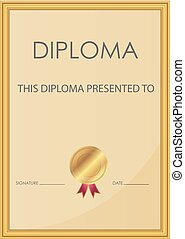 Vector of diploma certificate
