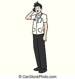 vector of doctor using smartphone