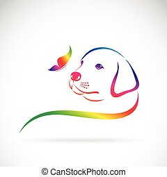 Vector of dog and butterfly on white background. logo