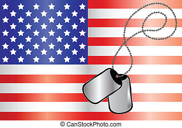 Vector of Dog tags on USA flag