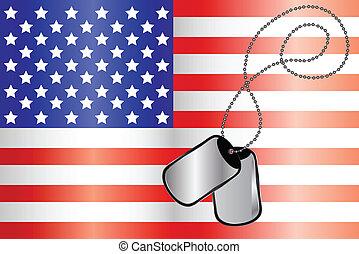 Dog tags on USA flag - Vector of Dog tags on USA flag
