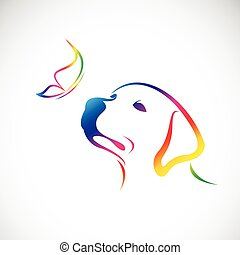 Vector of dog(labrador) and butterfly on white background. Pet Animal.