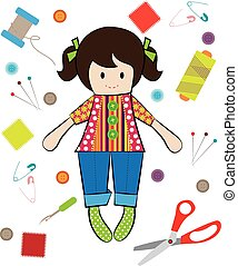 Vector of Doll Sewing with Sewing