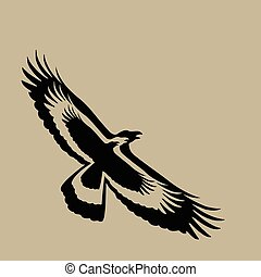 Vector of eagle design on brown background, Wild Animals. Bird.