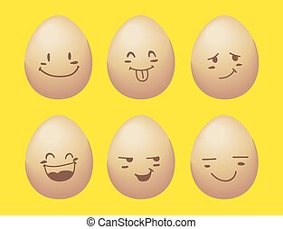 vector of egg with smile emotion.