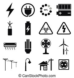 vector of electric icon set