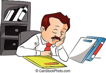 Vector of employee sleeping with files on desk.